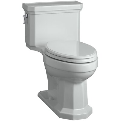 Kathryn Comfort Height Elongated One-Piece 1.28 GPF Toilet with Aquapiston Flush Technology, Left-Hand Trip Lever and Concealed Trapway Finish: Ice Grey