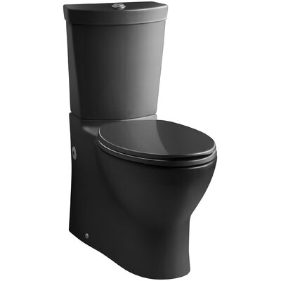 Persuade Skirted Two-Piece Elongated Dual-Flush Toilet with Top Actuator Finish: Black Black