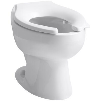 Wellcomme 1.6 GPF Flushometer Valve Elongated Toilet Bowl with Rear Inlet, Requires Seat Finish: White
