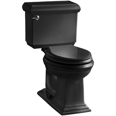 Memoirs Classic Comfort Height Two-Piece Elongated 1.28 GPF Toilet with Aquapiston Flush Technology, Left-Hand Trip Lever and Insuliner Tank Liner Finish: Black Black