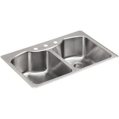 Octave 33 x 22 x 9-5/16 Top-Mount Double-Equal Stainless Steel Kitchen Sink with Three-Faucet Holes