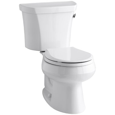 Wellworth Two-Piece Round-Front 1.6 GPF Toilet with Class Five Flush Technology, Right-Hand Trip Lever and Tank Cover Locks Finish: White
