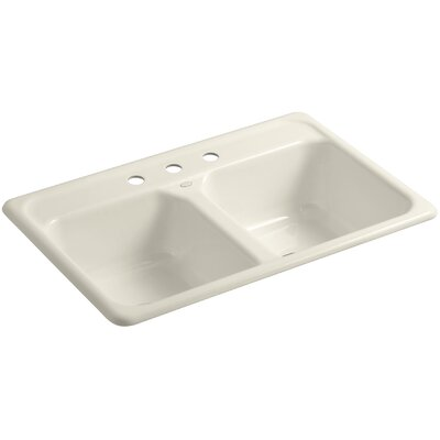 Cape Dory 33 x 22 x 8-1/2 Top-Mount Double-Equal Kitchen Sink Finish: Almond, Faucet Drillings: 3 Hole