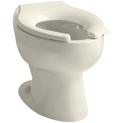 Wellcomme 1.6 GPF Flushometer Valve Elongated Toilet Bowl with Rear Inlet, Requires Seat Finish: Almond