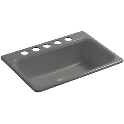 Bakersfield 31 x 22 x 8-5/8 Under-Mount Single-Bowl Kitchen Sink with 5 Faucet Holes Finish: Thunder Grey