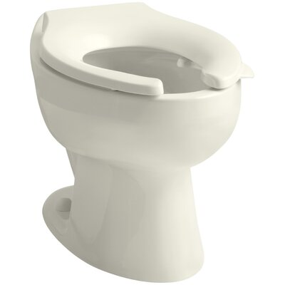 Wellcomme 1.6 GPF Flushometer Valve Elongated Toilet Bowl with Rear Inlet, Requires Seat Finish: Biscuit