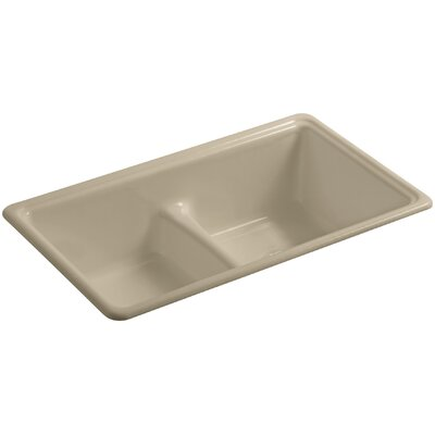 Deerfield 33 x 19-3/8 x 9-5/8 Top-Mount/Under-Mount Smart Divide Double-Equal Bowl Kitchen Sink Finish: Mexican Sand