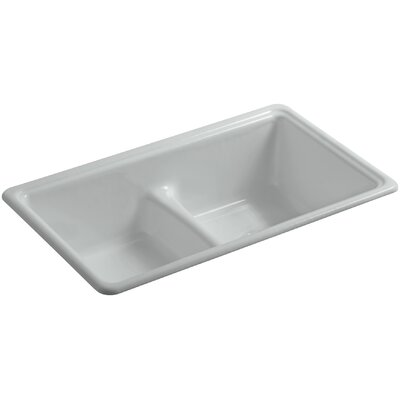 Deerfield 33 x 19-3/8 x 9-5/8 Top-Mount/Under-Mount Smart Divide Double-Equal Bowl Kitchen Sink Finish: Ice Grey
