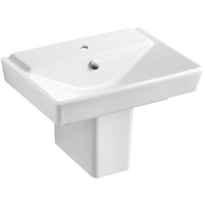 Reve Ceramic 24 Semi Pedestal Bathroom Sink with Overflow Finish: White