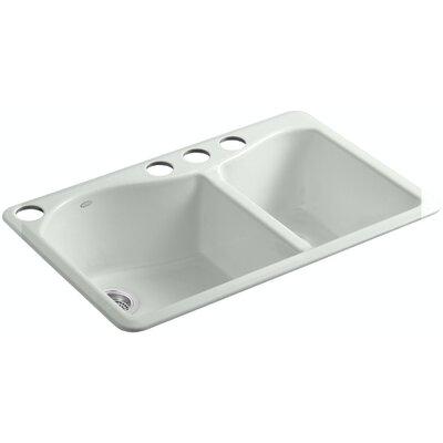 Lawnfield 33 x 22 x 9-5/8 Under-Mount Large/Medium Double-Bowl Kitchen Sink with 4 Oversize Faucet Holes Finish: Sea Salt