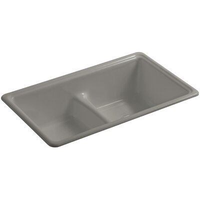 Deerfield 33 x 19-3/8 x 9-5/8 Top-Mount/Under-Mount Smart Divide Double-Equal Bowl Kitchen Sink Finish: Cashmere