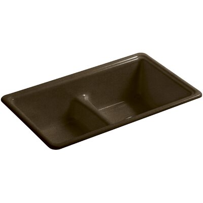 Deerfield 33 x 19-3/8 x 9-5/8 Top-Mount/Under-Mount Smart Divide Double-Equal Bowl Kitchen Sink Finish: Black n Tan