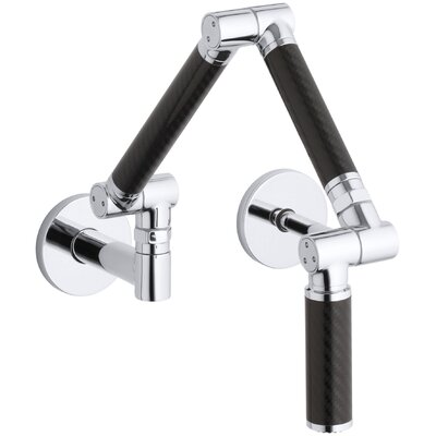 Karbon Articulating Two-Hole Wall-Mount Kitchen Sink Faucet with 13-1/4 Spout with Black Tube Finish: Polished Chrome