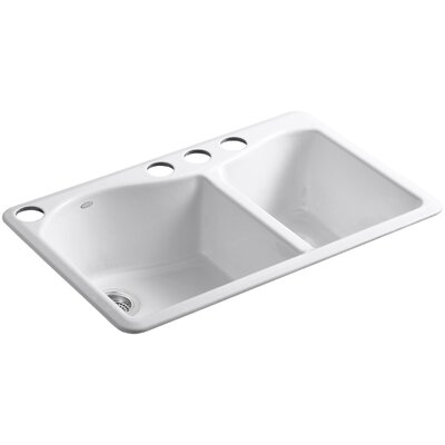 Lawnfield 33 x 22 x 9-5/8 Under-Mount Large/Medium Double-Bowl Kitchen Sink with 4 Oversize Faucet Holes Finish: White