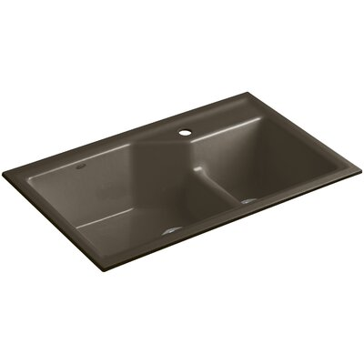 Indio 33 x 21-1/8 x 9-3/4 Under-Mount Smart Divide Large/Small Double-Bowl Kitchen Sink Finish: Suede, Faucet Drillings: 1 Hole
