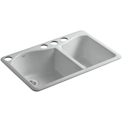 Lawnfield 33 x 22 x 9-5/8 Under-Mount Large/Medium Double-Bowl Kitchen Sink with 4 Oversize Faucet Holes Finish: Ice Grey