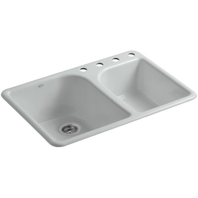 Turnings 33 x 22 x 10-5/8 Top-Mount Large/Medium, High/Low Double-Bowl Kitchen Sink with 4 Faucet Holes Finish: Ice Grey
