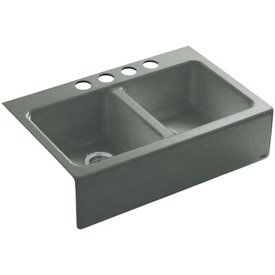 Hawthorne 33 x 22-1/8 x 8-3/4 Apron-Front Under-Mount Double-Equal Kitchen Sink with 4 Oversize Faucet Holes Finish: Basalt