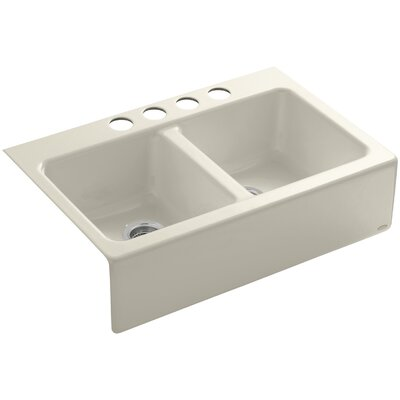 Hawthorne 33 x 22-1/8 x 8-3/4 Apron-Front Under-Mount Double-Equal Kitchen Sink with 4 Oversize Faucet Holes Finish: Almond