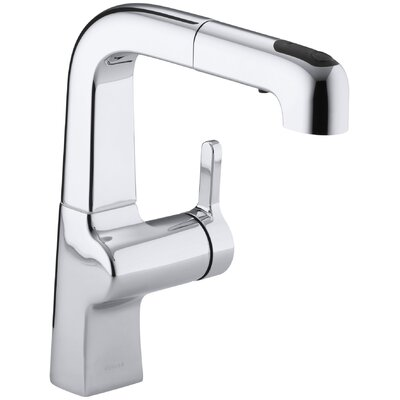 Evoke Single-Hole Kitchen Sink Faucet with 8 Pullout Spout Finish: Polished Chrome