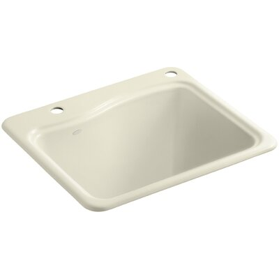 River Falls Top-Mount Utility Sink with 2 Faucet Holes - One-Hole On Deck On The Left and Right-Hand Accessory Hole Finish: Cane Sugar