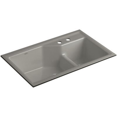 Indio 33 x 21-1/8 x 9-3/4 Under-Mount Smart Divide Large/Small Double-Bowl Kitchen Sink Finish: Cashmere, Faucet Drillings: 2 Hole