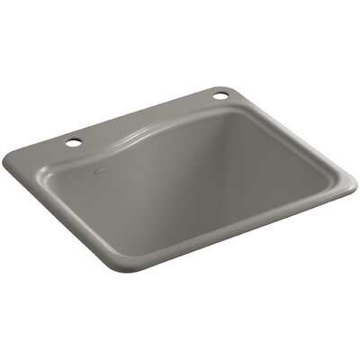 River Falls Top-Mount Utility Sink with 2 Faucet Holes - One-Hole On Deck On The Left and Right-Hand Accessory Hole Finish: Cashmere