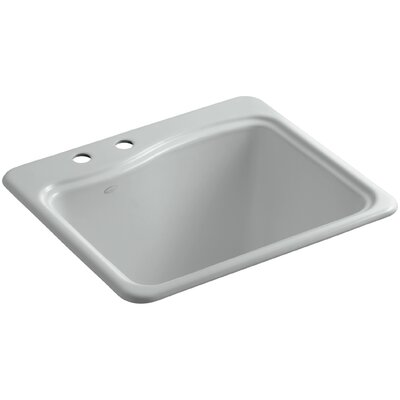 River Falls Metal Rectangular Drop-In Bathroom Sink Finish: Ice Gray, Number of Faucet Holes: 2