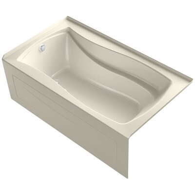 Mariposa Alcove Bubblemassage 66 x 36 Soaking Bathtub Finish: Almond, Drain Location: Left