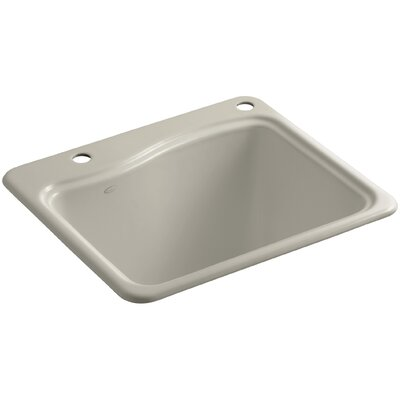 River Falls Top-Mount Utility Sink with 2 Faucet Holes - One-Hole On Deck On The Left and Right-Hand Accessory Hole Finish: Sandbar