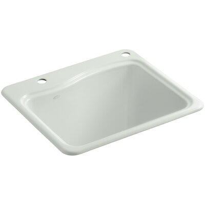 River Falls Top-Mount Utility Sink with 2 Faucet Holes - One-Hole On Deck On The Left and Right-Hand Accessory Hole Finish: Sea Salt
