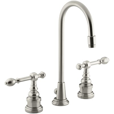 Iv Georges Brass Widespread Bathroom Sink Faucet with High Country Swing Spout and Lever Handles Finish: Vibrant Brushed Nickel