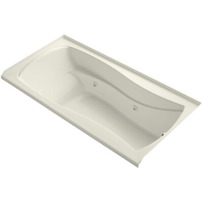 Mariposa Alcove 72 x 36 Whirpool Bathtub Finish: Biscuit, Drain Location: Right