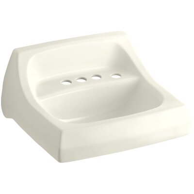 Kingston Ceramic 22 Wall Mount Bathroom Sink with Overflow Sink Finish: Biscuit