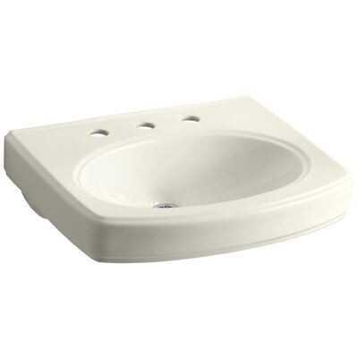 Pinoir Ceramic 30 Wall Mount Bathroom Sink with Overflow Finish: Biscuit