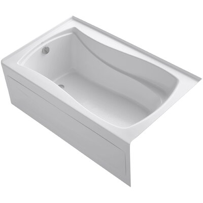 Mariposa Alcove Vibracoustic 60 x 36 Soaking Bathtub Finish: White, Drain Location: Left