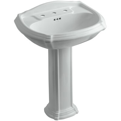 Portrait� Ceramic 27 Pedestal Bathroom Sink with Overflow Finish: Ice Grey, Faucet Hole Style: 4 Centerset
