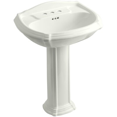 Portrait� Ceramic 27 Pedestal Bathroom Sink with Overflow Finish: Dune, Faucet Hole Style: 4 Centerset