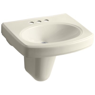 Pinoir Ceramic 22 Wall Mount Bathroom Sink with Overflow Finish: Almond