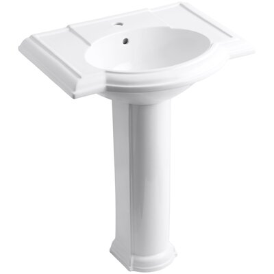 Devonshire� Ceramic 28 Pedestal Bathroom Sink with Overflow Finish: White, Faucet Hole Style: 8 Widespread