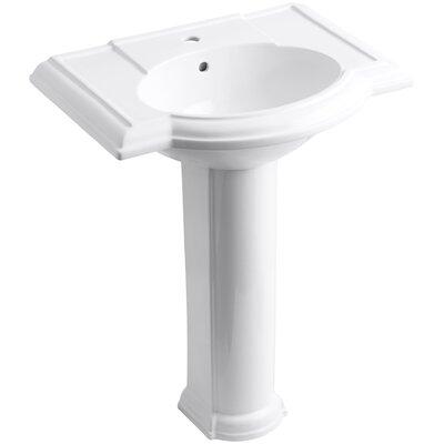 Devonshire 28 Pedestal Bathroom Sink Finish: White, Faucet Hole Style: Single
