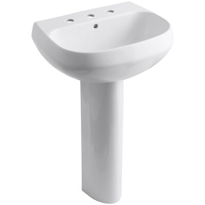 Wellworth� Ceramic 23 Pedestal Bathroom Sink with Overflow Finish: White