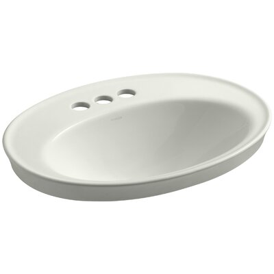 Serif Ceramic Oval Drop-In Bathroom Sink with Overflow Finish: Dune, Faucet Hole Style: 4 Centerset