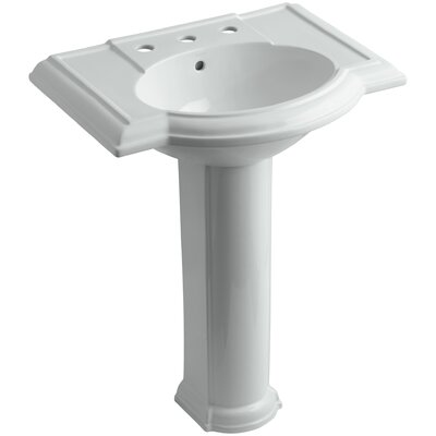Devonshire� Ceramic 28 Pedestal Bathroom Sink with Overflow Finish: Ice Grey, Faucet Hole Style: 8 Widespread