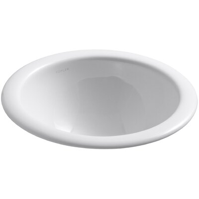 Compass Ceramic Circular Drop-In Bathroom Sink Sink Finish: White