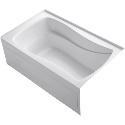 Mariposa Alcove Vibracoustic 60 x 36 Soaking Bathtub Finish: White, Drain Location: Right