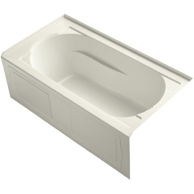Devonshire Alcove Vibracoustic 60 x 32 Soaking Bathtub Finish: Biscuit, Drain Location: Right
