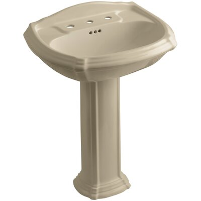 Portrait 27 Pedestal Bathroom Sink Finish: Mexican Sand, Faucet Hole Style: 8 Widespread