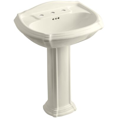Portrait� Ceramic 27 Pedestal Bathroom Sink with Overflow Finish: Almond, Faucet Hole Style: 8 Widespread