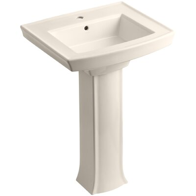 Archer Pedestal Bathroom Sink Finish: Almond, Faucet Hole Style: Single